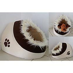 Garden Mile Antideslizante Pequeño Beige Y Marrón Huellas Estampadas Polar Gato O Perro Pelo Bordeado Iglú Cama Mascota Para Gatos, Gatitos O Perros Pequeños