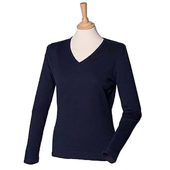 Henbury-Maglione con collo a V, da donna, leggera H721 colore: blu Navy, S