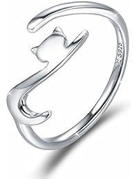 Gato Anillo Mujeres Ajustable de Plata de Ley Compromiso anillo Joyería Regalos para Niñas Mujer