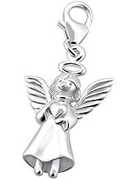 Charm colgante ángel con corazón 925plata de ley con cierre de mosquetón para pulsera de abalorios Cadena