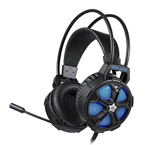 Preisvergleich Produktbild Jinclonder Cool 2000 Stereo-Kopfhörer für PS4,  PC,  Xbox One,  Kopfhörer mit Geräuschunterdrückung,  mit Mikrofon,  LED-Licht,  weiche Ohrenschützer für Laptop,  Mac,  Spiele Nintendo Switch blau
