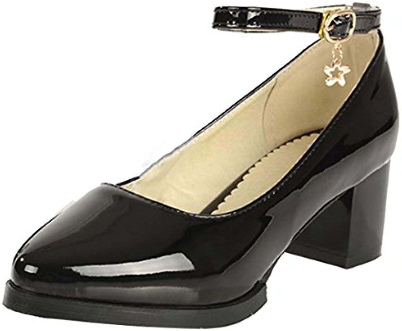 0c92623c63b AIYOUMEI Shoes Ladies Mid Mid Block Heel Ankle Patent Ankle Strap ...