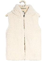 Mädchen Fellweste Winerjacke Kapuze Parka Coat Outwear Übergangsjacke Wärmejacke Mantel
