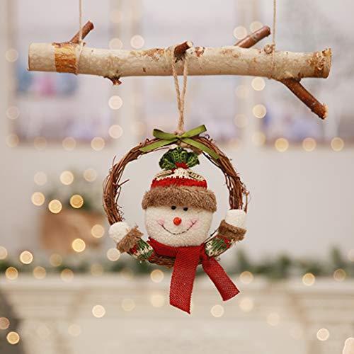Fafalloagrronchristmas Père Noël Elk Couronne en rotin Vigne Bague à Suspendre Pendentif Arbre de Noël Cadeau, Bonhomme de Neige, 6.30inx6.30in