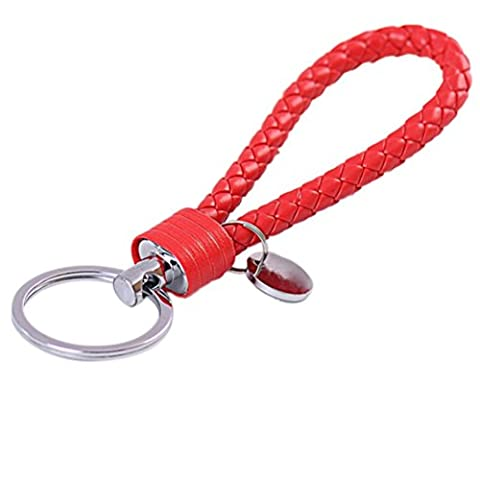 Wetrys 1 Pcs Red Braided PU Leather Strap Keyring Keychain