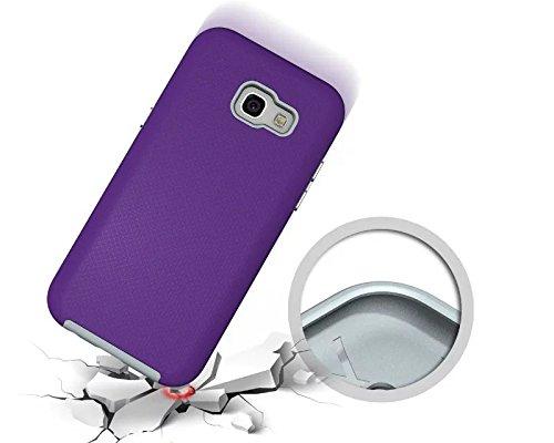 YHUISEN Galaxy A5 2017 Case, 2 In 1 TPU und PC Ultra Slim Anti-Rutsch Anti-Shock Rüstung Kratzer Resistant Schutzhülle für Samsung Galaxy A5 2017 A520 ( Color : Purple ) Purple