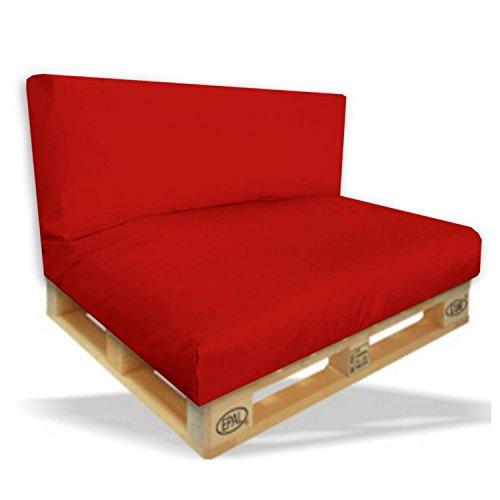 Palettenkissen 2er Set - Sitzpolster 120x80x15cm + Rückenkissen 120x40x10cm Farbe Rot - I