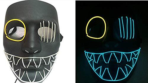 (Queta Halloweenmaske Kreative LED-Maske beleuchtet EL Wire Horrormaske Purge Maske Kostüm für Party Halloween Weihnachten Dekoration Maskade Cosplay Party Show Festival Kostüm)
