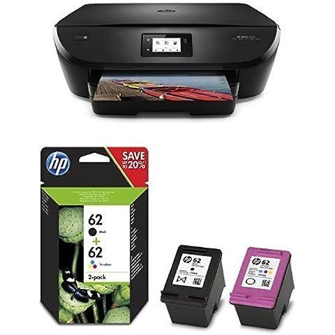 HP Envy 5540 Pack - Impresora multifunción inalámbrica + Pack de ahorro de 2 cartuchos de tinta original, negro y tricolor (cian, magenta y amarillo) (62)