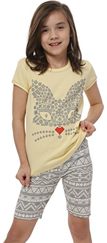 Italian Fashion IF Mädchen Schlafanzug Kumiko Kids 0225 (Gelb, 98-104) (Für Kids Schlafanzug)
