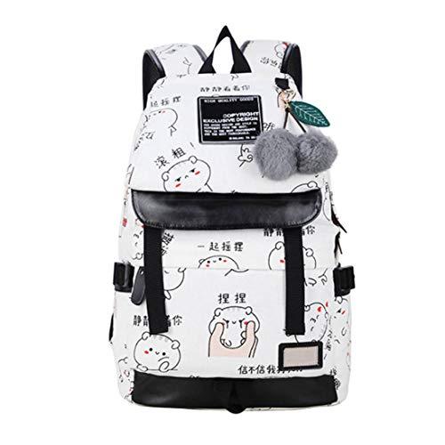 Deloito Rucksack Koreanisch Mode Tragen Schultertasche Weiblich Mittelschüler Tasche Reise-Leinwand Drucken Rucksack (A, M)
