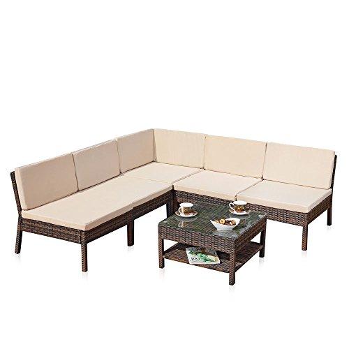 Melko Lounge Sofa-Garnitur Gartenset, Poly Rattan, mit Glastisch, braun, inklusive Kissen, mehrteilig