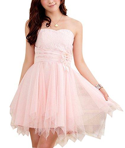 Brinny Femme Demoiselle D'honneur Mini-robe en Soie Irrégulier Ourlet Bandeau Robe avec Bretelles Amovibles Pour Soirée de Mariage Rose