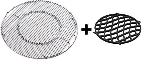 JX BBQ System - Edelstahl Grill für 57 cm Kessel Grill + Gusseisen 'Sear Grate' für Gourmet-Grill-System (Kessel Grillrost)