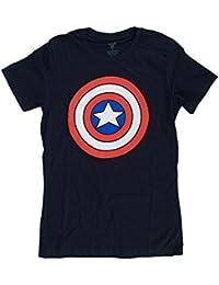 Marvel Captain America Shield Logo Juniors Navy Blue T-Shirt