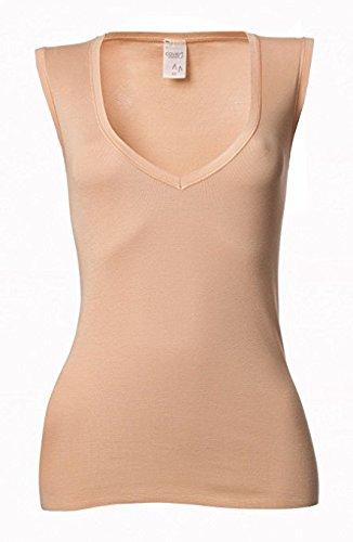 02641864007849 Hautfarbenes Unterhemd Damenunterhemd unsichtbar V-Ausschnitt Damenshirt  hautfarben ohne Arm Business Shirt 0