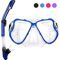 Chollima Dry Snorkel Set, HD Panoramic View, Anti-Fog and Anti-Leakage, Adjustable, Safe material, Scuba Diving Mask for Professional Snorkeling Adults Kids