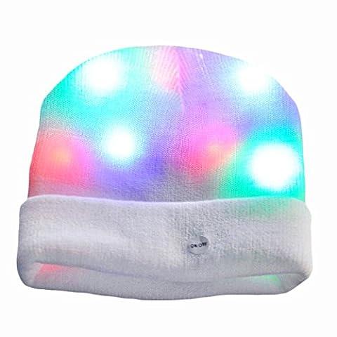 Bonnet LED, Aomeiqi Clignotant Beanie Chapeau blanc 7 LED, chaud et confortable, pour Fête, Camping, Jogging, Manifestation, Christmas, faire du vélo, promenade