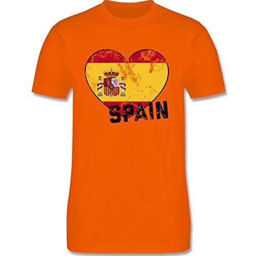 EM 2016 - Frankreich - Spain Herz Vintage - Herren Premium T-Shirt Orange