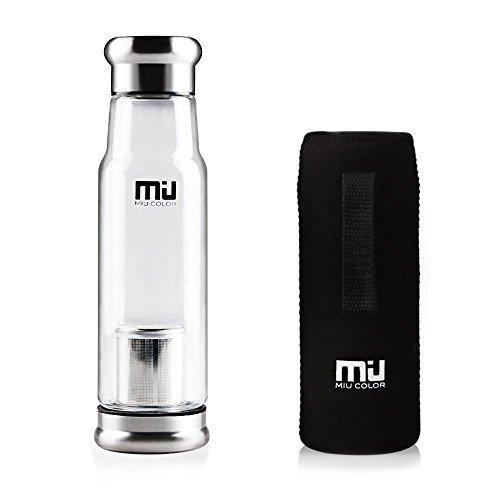 MIU COLOR® Stilvolle Tragbare 550ml Glasflasche Trinkflasche Nylon Tasche für Auto (mit Teesieb, dunkelblau)