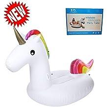 Inflable de Unicornio Flotador de Helado para piscina, Juguete para fiesta de piscina con válvula