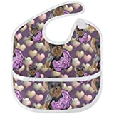 Yorkie Lilac Hearts Small About 5 Infant Bibs Waterproof Baby Bib Roll Up Bib,Saliva Towel Antifouling Bibs for Toddler Bibs for Drooling and Teething