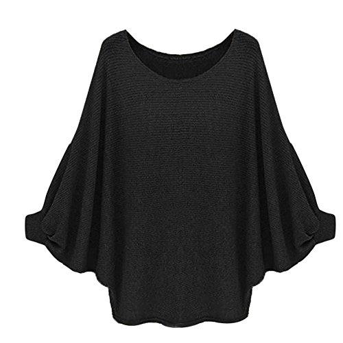 Reasoncool Le donne oversize Batwing lavorato a maglia Pullover allentato maglione (Free Size, Nero)