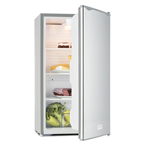 Klarstein Beerkeeper - Kühlschrank, 92 Liter, 83 cm hoch, 3 Fächer Gemüsefach, 7-stufiger Thermostat, Innenbeleuchtung, 60 Watt Nennleistung, silber -