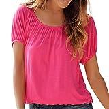CAOQAO Damen Sommer Kurz Ärmel O Hals Rückenfrei Fest Slim Fit T-Shirt Hemd Oberteil Bluse(XL,Rot)