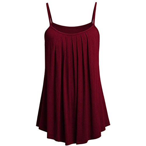 VEMOW Sommer Frauen Damen Elegante Lose Leibchen Damen Einfarbig Tank Tops Plus Größe S ~ 6XL Vintage Tunika Hemd T-Shirt (EU-54/CN-6XL, B)