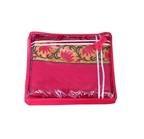 Shamradhi Handloom House(Since-1996) Non Woven Transparent Saree And Lehenga Cover Bag/Wardrobe Organizer-Pink....