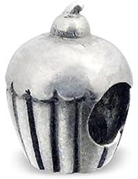 Silvadore–Charm Perle Motif–Rayures Motif cupcake cerise Uni–Argent 925–Argent 3D diapositive sur 627–Compatible avec Pandora européenne–Bracelet Femme–Coffret Cadeau inclus