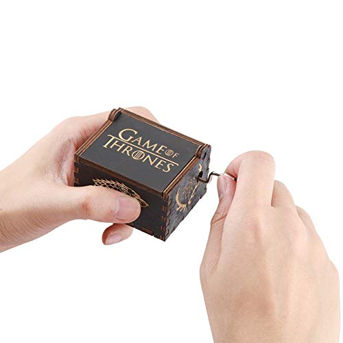 TOPINCN Musikbox Holz Handkurbel Klassisch Antik Graviert Spielzeug für Kinder Spieluhr Geschenke Schwarz