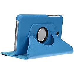 doupi Rotatif Housse pour Samsung Galaxy Tab 4 (7 pouces), Deluxe 360 Degrés Smart Coque de Protection Simili Cuir Coque Cover et Case, bleu