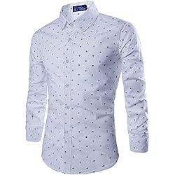 Camisa Básico Hombre Camisas de Manga Larga Slim Fit Shirts Blanco L