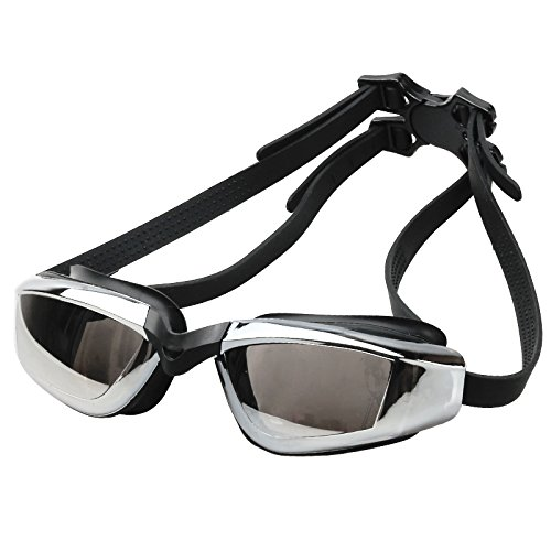 Uniavo Mirrored Swimming Goggles, No Leaking Anti Fog Swim Goggles with Free Protection Case for Adults (Unisex, Free Size)