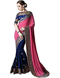 Sunshine Fashion Women's Georgette Saree With Blouse Piece (Sunsa1872_Pink)