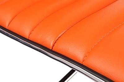 0090 Bar Stools with Adjustable Height Imitation Leather Orange Set of 2 - low-cost UK bar stool shop.