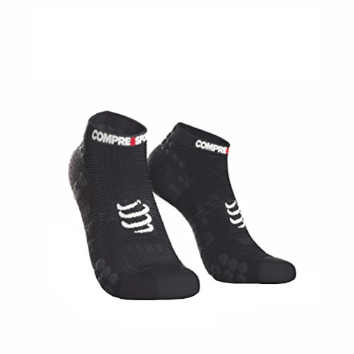 COMPRESSPORT Herren V3 Sock Low Laufsocke Tief, Schwarz, T2 - Racing Herren-socken