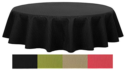 Brandsseller - Gartentischdecke geschäumt wetterfeste und Rutschfeste Tischdecke für Garten Balkon und Camping Rund Ø 160 cm - schwarz