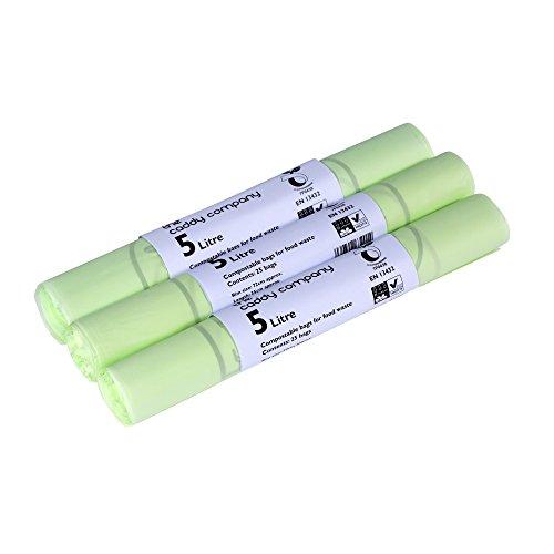 The Caddy Company - Bolsas de basura (5 L, 75 bolsas), color verde
