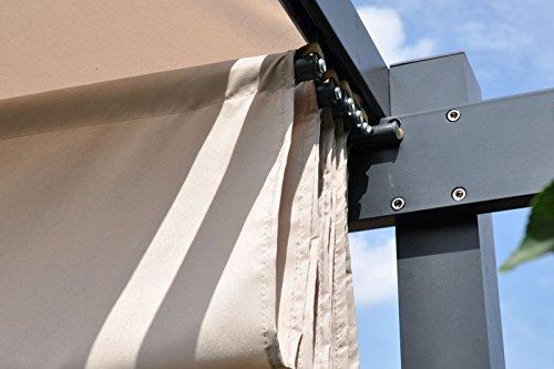 Leco Pergola 3 x 4 m, Aluminium mit Pulverbeschichtung, anthrazit, Dachrohre aus Edelstahlrohr, Edelstahlschraubverbindungen, 100 % Polyester, natur - 2