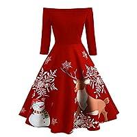 BOMING Christmas Ladies Off Shoulder vening Party Dress Women Print Vintage EFlare Dress Red