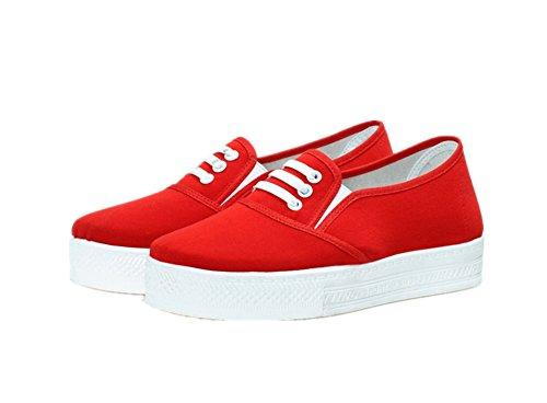 zhengjun  Casual Canvas Shoes, Damen Mokassins Rot