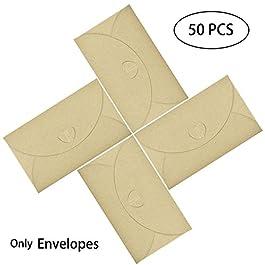 50 Pz Busta Regalo con Kraft Carta, Hotipine Vintage Marrone Resistente Forma di Cuore envelopes per Cartoncino di…