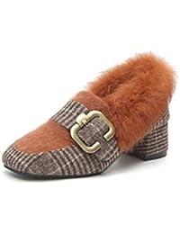 DIMAOL Zapatos de Mujer Invierno Flocado Comodidad Mocasines & Slip-Ons Chunky Talón Square Toe Pluma Para Casual...