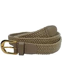 Streeze ceinture élastique pour femmes. 5 tailles. Extensible et tressée. 25 mm de largeur avec boucle en or de tailles XS-XL