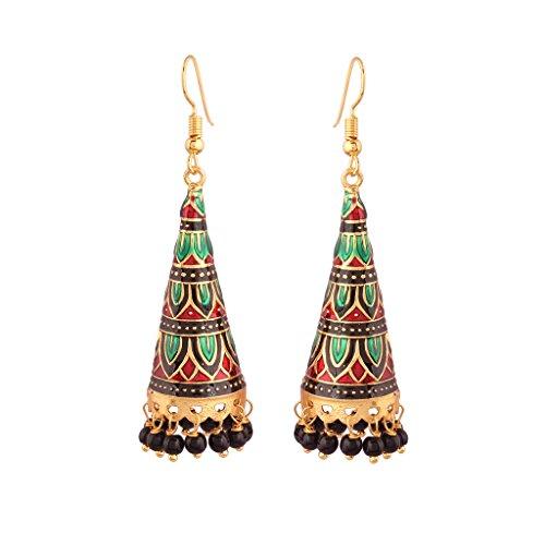 I Jewels Jaipur Collection Rajasthani Jhumka/Jhumki Earrings with Meenakari work for Women E2539MG