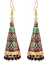 I Jewels Jaipur Collection Green and Red Gold Plated Jhumka for Women
