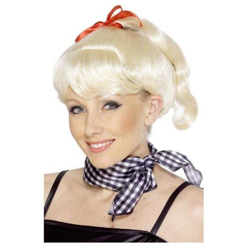 cke Perücke Grease Sandy blond mit roter Schleife und Zopf Sandyperücke für Damen (Sandy Perücke Grease)